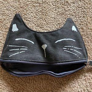 Cute Cat Black Jean Zipper Pouch